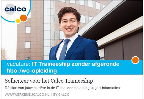 Advertentie Calco traineeship IT